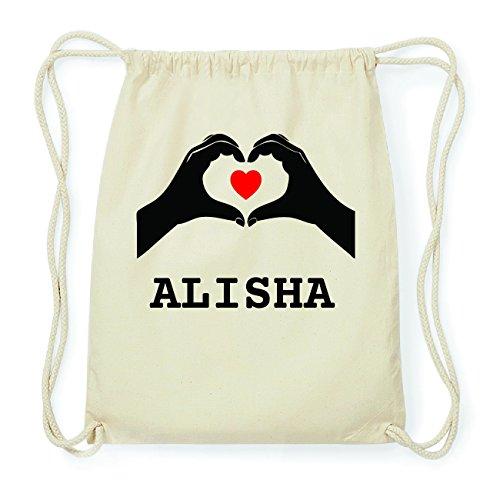 JOllify ALISHA Hipster Turnbeutel Tasche Rucksack aus Baumwolle - Farbe: natur Design: Hände Herz