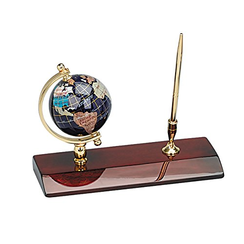 Executive Gemstone Globe Desktop Pen Holder