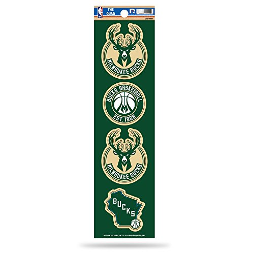 Rico NBA Milwaukee Bucks Die Cut 4-Piece The Quad Sticker Sheet by Rico