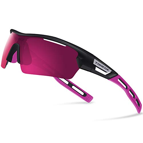 Torege Polarized Sports Sunglasses for Men Women Cycling Running Driving TR033 (Black&Pink Tips&Pink Lens)