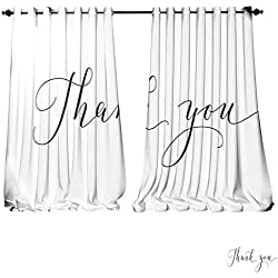 DESPKON-HOME Printed Blackout Curtain Thank You Words Hand Written Custom Calligraphy Isolated on White Great for Cards Wedding Invitation Grommet Window Curtain Drape Panels-W108 x L84/Pair