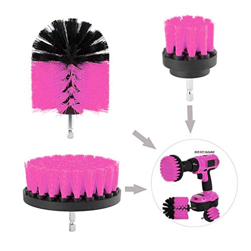 Gotian 3 Piece Scrub Brush Power Drill Cleaning Brush Cleaner Kit Combo Tool Kit Perfect for Cleaning Grout Drill Brush - Rack Mat Filter