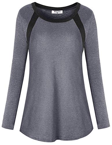 Dry Fit Shirts Women, Yoga Tops Plus Size Workout Clothes Running Tee Blouse Long Sleeve Fitness Stretchy Polyester Athleisure Training Tshirts Oversized 2X Gray