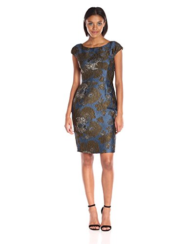 Vera Wang Women's Jacquard Sheath Dress, Sea Multi