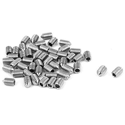 UPC 602451434900, uxcell M3 x 5mm Cone Point Hex Socket Set Grub Screw Silver Tone 50 Pcs