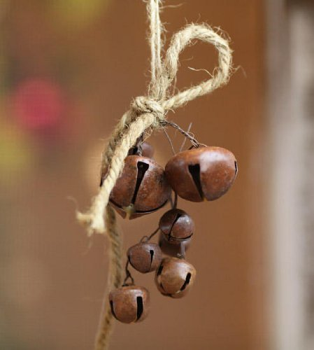 Rusted Jingle Bell Bunch on Jute String Ornaments for Christmas and Everyday Crafting - 12 Ornaments