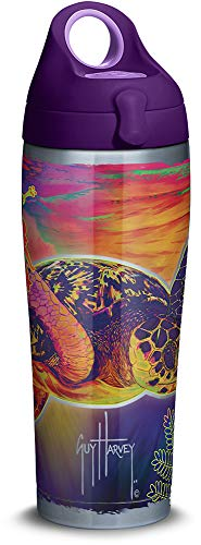 Tervis 1312121 Guy Harvey - Neon Turtle Stainless Steel Insulated Tumbler with Purple Lid, 24oz Water Bottle, Silver