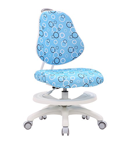 Kids Desk Chair, Big Baby Mid Back Adjustable Home Office Chair, Student Ergonomic Armless Chair, Swivel Task Computer Chair with Foot Rest 360 Degree, Blue by Big Baby