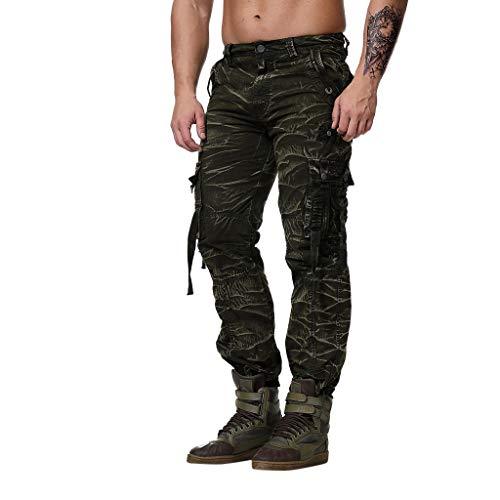 (POHOK Men Long Trouser Men's Multi-Pocket Overalls Military Wind Straight Pants Trousers Casual Pants Nine Pants(L,Camouflage))
