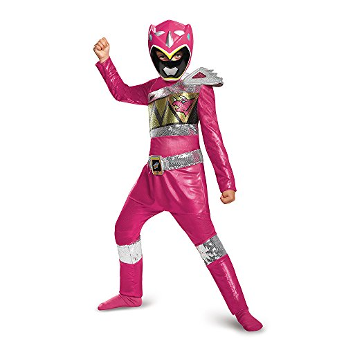 Disguise Pink Ranger Dino Charge Sequin Deluxe Costume, Large (10-12) -