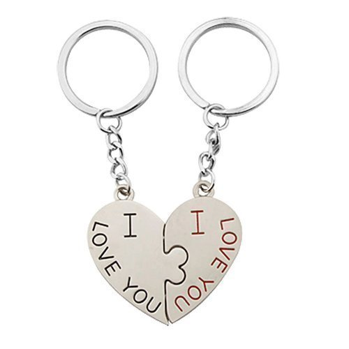 I Love You Design Pair Couple Key Chain with Heart Pendant