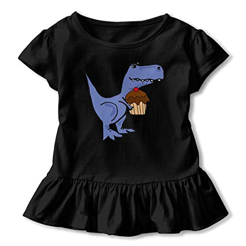 Toddler Baby Girl T-rex Dinosaur Eating Cupcake Funny Short Sleeve Cotton T Shirts Basic Tops Tee Clothes Black
