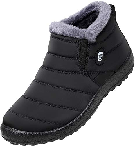 JOINFREE Women's Waterproof Snow Boots Flat Shearling Lining with Soft Soles Black 10.5 M ()