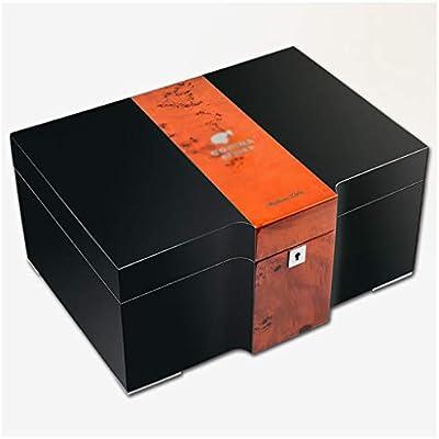 150 Cigarros Humidor Enfriador Dos Vías Bandeja Humidificador Inicio Cedar Humidor De Puros Hueco Higrómetro Integrado (Color : Black, Size : 37 * 25.5 * 17.5cm): Amazon.es: Salud y cuidado personal
