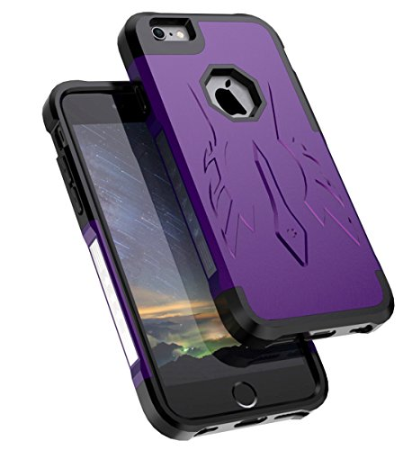 SaiTong iPhone 6 Case,iPhone 6S Case Slim Fit Dual Layer TPU and Plastic Hybrid Shockproof Protective Unique Design Cover for iPhone 6/6S 4.7 inch,Purple Black