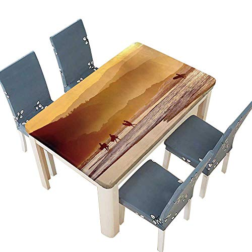 (PINAFORE Polyester Cloth Fabric Cover Surfers and Boogie Boards on Beach at Sunset Table W73 x L112 INCH (Elastic Edge))