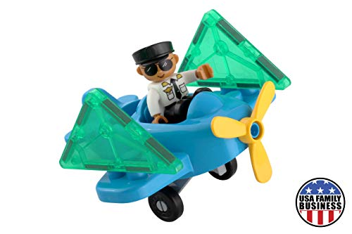Pythagoras Magnets Flying Toy Plane and Pilot Figure Magnetic Tiles Expansion Toys Set