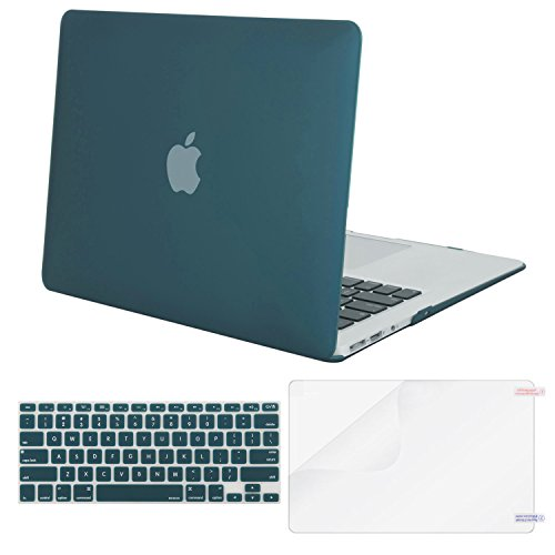 Mosiso-Plastic-Hard-Case-with-Keyboard-Cover-with-Screen-Protector-for-MacBook-Air-13-Inch-Models-A1369-and-A1466-Deep-Teal