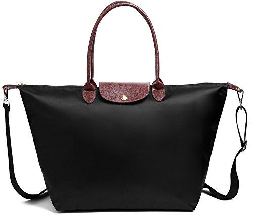 BEKILOLE Women Fashion Waterproof Tote Bag Nylon Shoulder Beach Bag with Shoulder Strap- Black Color - Large Size