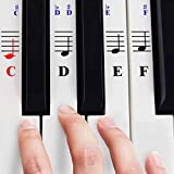Piano Stickers for 49/61/ 76/88 Key Keyboards - Transparent and Removable with Free Piano Ebook; Made in USA