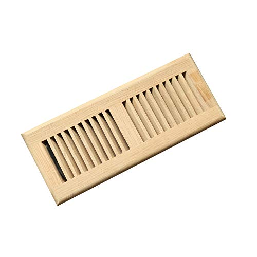 WELLAND 4X12 Inch White Oak Vents Wood Self-Rimming(Drop in)) Floor Register Cover Grille Unfinished, 3/4