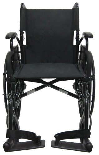 (Karman Healthcare 802N-DY-E Aluminum Lightweight Wheelchair with Flip Back Armrests with Elevating Legrests, Black, 16 Inches Seat Width)