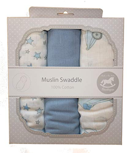 Newborn Baby Boy Girl Unisex Muslin Squares Nursing Cover Burb Cloth Gift Set - (3 Pack - 76cm x 96cm) Quality Swaddles 100% Cotton - Various Colours Available - Ivory & Pink (Blue) Boutique