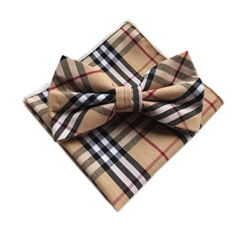 Bow Tie and Pocket Square Set - Classic Brown Tartan Plaid Collection Bow Tie For Men Boys