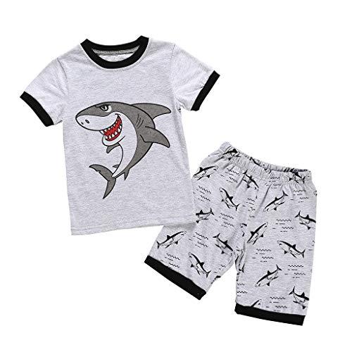 NUWFOR Kids Baby Boy Girls Pajamas Short Clothes Sets Cartoon Printed T-Shirt Tops Shorts Pants Outfits Set(Gray,5-6 Years) ()