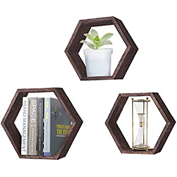 Rustic Wall Mounted Hexagonal Floating Shelves - Set of 3 - Large, Medium and Small - Screws and Anchors Included - Farmhouse Shelves for Bedroom, Living Room and More - Honeycomb Wall Décor - Torched
