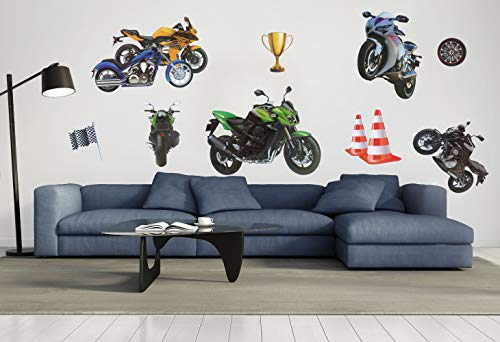 3D Wall Stickers Wall Art Decals Motorcycle Rome Decor Wall Stickers for Kids Boys Girls