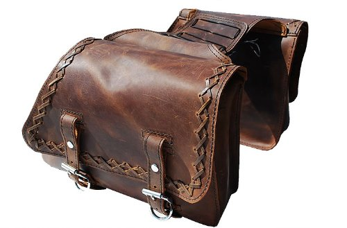 LaRosa Harley-Davidson Sportster XL Rustic Brown Leather Throw Over Left & Right Saddle Bags