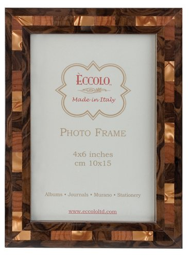 Eccolo Made in Italy Marquetry Wood Frame, Opalescent Tan, Holds an 8 x 10-Inch Photo