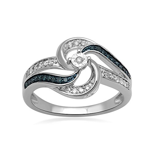 lver Blue and White Diamond Bypass Swirl Ring,1/4cttw. Size 7 (Pave Diamond Bezel)