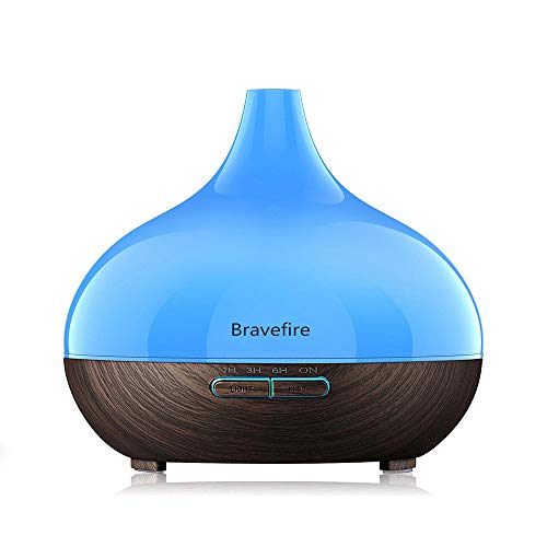 Bravefire 550ml Cool Mist Humidifier Ultrasonic Aroma Essential Oil Diffuser for Office Home Bedroom Living Room Study Yoga Spa - Wood Grain