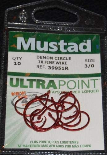 10 Pack Mustad 39951R-30 Red Ultra Point Size 3/0 Circle Hooks 1X Fine Wire