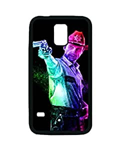 Black Rubber Case, The Walking Dead Rick Custom High Quality Durable Rubber Silicone Snap On Case Cover for Samsung Galaxy S5 i9600, Ebrain Case