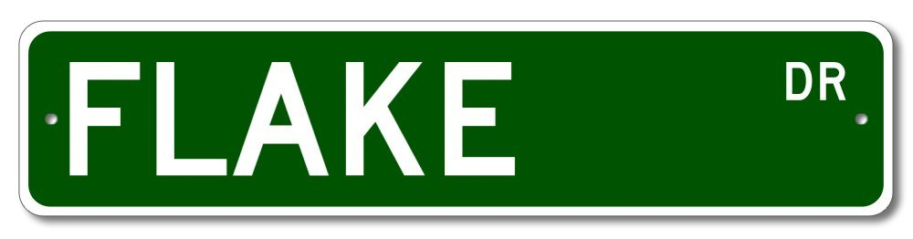 The Lizton Sign Shop Flake Drive Custom Street Sign - Flake Family Last Name Aluminum Novelty Sign - Green - 4''x18''