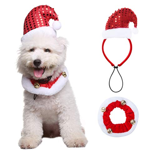 OFPUPPY Christmas Dog Headband Santa Claus' Hat Style and Bell Collar Pet Costume for Pets Doggies