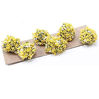 Creative Accents Dollhouse Miniature Set of 6 Lanscaping Bushes w/Yellow & White Blooms: Toys & Games