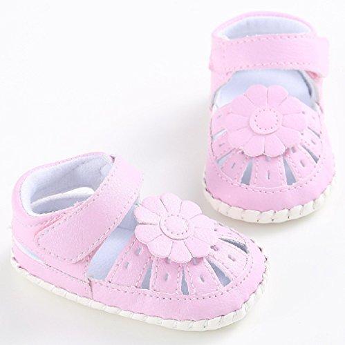 Baby Schuhe Auxma Baby Mädchen Prewalker Sweet Bowknot Anti-Rutsch-Soft Sole Leder Schuhe Für 3-6 6-12 12-18 Monat (6-12 M, Weiß) Rosa