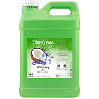 TropiClean Awapuhi & Coconut Whitening Shampoo for Pets, 2.5 gal - Whitens and Brightens All Coats, Made in the USA