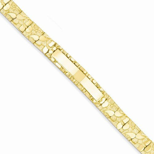 Solid 14k Yellow Gold 10.0mm Nugget Engravable ID Bracelet 7