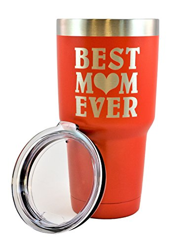 MOM GIFT – Engraved BEST MOM EVER Stainless Steel Tumbler 30 oz Premium Quality Vacuum Insulated Color Coated Large Travel Coffee Mug Hot & Cold Drinks Mothers Day Gift Christmas Birthday (Red)
