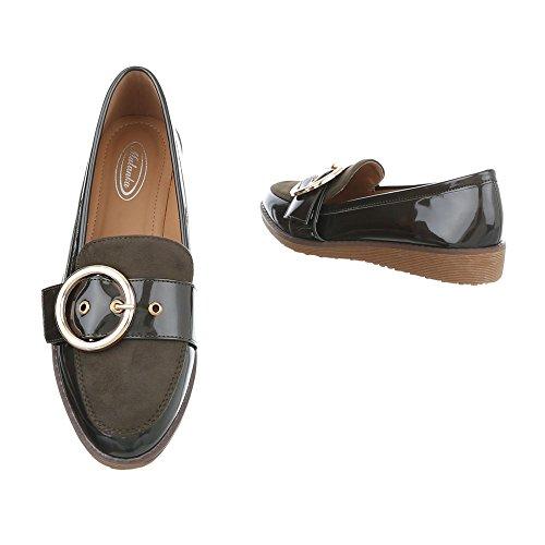 Design Flat Ital 5 Loafer Flats Slippers Women's Khaki 1 W dOIIqr6n