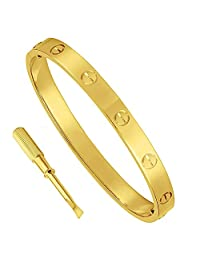 316L Stainless Steel Couple Jewelry Love Screw Oval Bracelet Bangle Women Men with Screwdriver