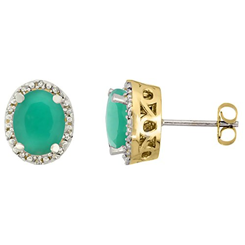 10K Yellow Gold Genuine Cabochon Emerald Stud Earrings Diamond Halo Oval 8x6 (Cabochon Emerald Earrings)
