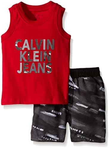 Calvin Klein Baby Boys' Jersey Muscle Top and Printed Microfiber Shorts