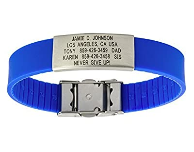 Road ID Bracelet - the Wrist ID Slim 2 - Identification Wristband and Sport ID - Adjustable to Fit Both Adults & Kids