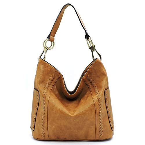 - Vegan faux leather soft and slouchy bucket hobo handbag with detachable cross-body strap (Tan)